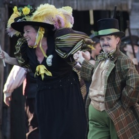 On Broadway: The Pickle King (Allie Dunbar) and his daughter Philoepena (Shelley Simester)