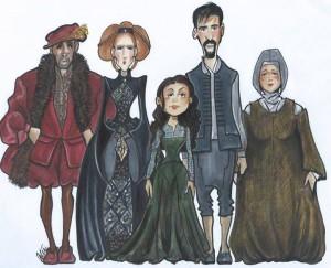 Cartoon by costume designer Peter de Freitas